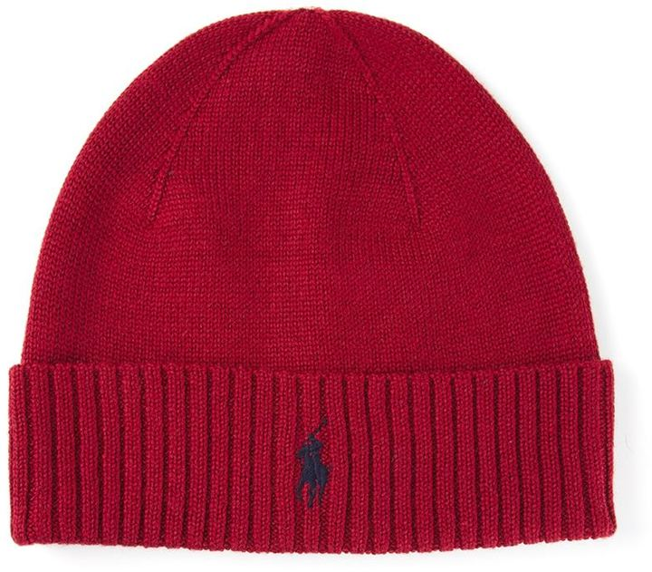 Ribbed Logo Beanie. Red Beanie by Polo Ralph Lauren e1a3312964f