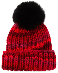 Eugenia Kim Rain Beanie With Fox Fur Pom Pom Red