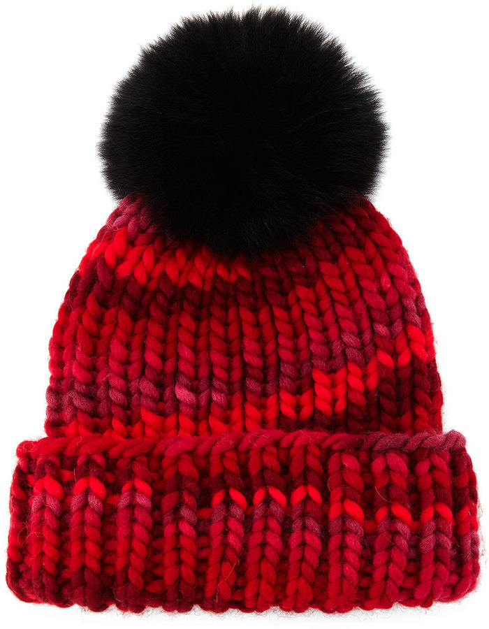 476208ea346 ... Eugenia Kim Rain Beanie With Fox Fur Pom Pom Red ...