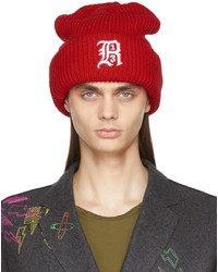 R13 Red Oversized Embroidery Beanie