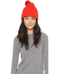 Mira Mikati Ribbed Beanie With Head Pom Pom