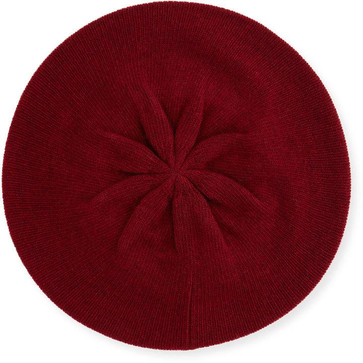 a3326dbd33308 Portolano Cashmere Crystal Edge Beret Hat Ashton Red
