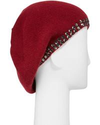 Portolano Cashmere Crystal Edge Beret Hat Ashton Red