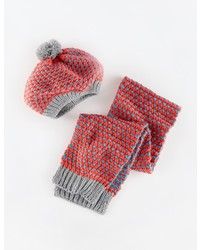 Boden Knitted Beret And Scarf Set
