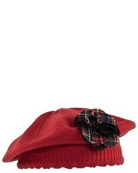 Dolce & Gabbana Red Beret With Tartan Corsage