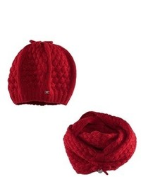 Mayoral Red Knitted Beret And Snood