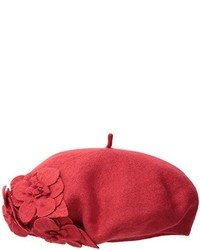 San Diego Hat Company Wool Beret Hat With Self Flowers
