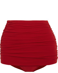 Norma Kamali Bill Ruched Bikini Briefs Red