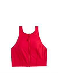 J.Crew Cropped Zip Front Bikini Top