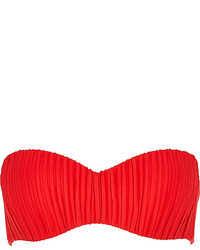 River Island Red Pleated Balconette Bikini Top
