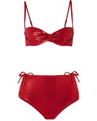 Leslie Amon Thea Ruched Stretch Lam Bandeau Bikini