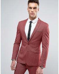 Asos Super Skinny Suit Jacket In Red Twist