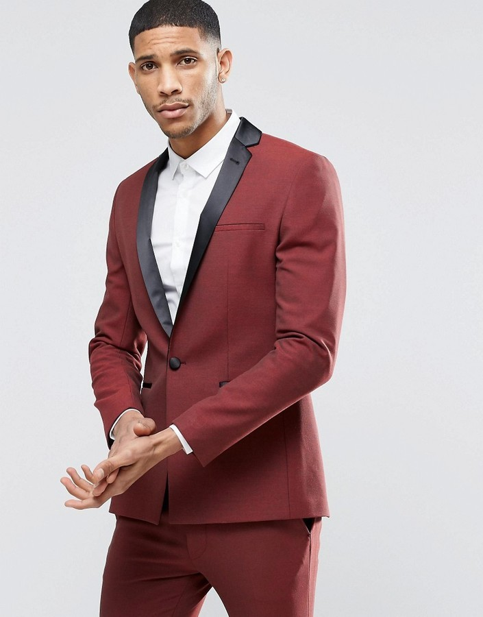 Surprisingly society Exchange  Asos Brand Super Skinny Tuxedo Suit Jacket In Dark Red, $114   Asos    Lookastic