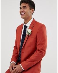 Farah Smart Farah Henderson Skinny Fit Suit Jacket In Red
