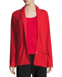 Joan Vass Two Button Long Pique Blazer Classic Red Plus Size