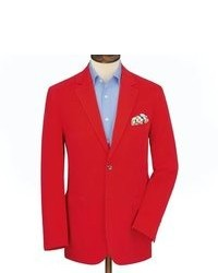 Charles Tyrwhitt Red Ottoman Rib Classic Fit Unstructured Jacket