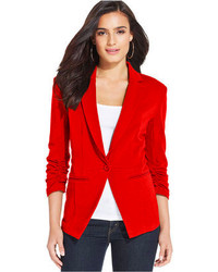 Style&co. Ruched Sleeve Single Button Blazer