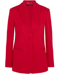 Versace Satin Trimmed Crepe Blazer Red