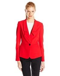 Anne Klein Stretch One Button Ruffle Suit Jacket