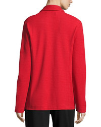 Joan Vass Two Button Long Pique Blazer Classic Red Petite