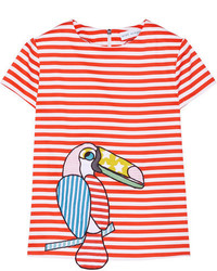 Mira Mikati Appliqud Striped Stretch Cotton Top Red