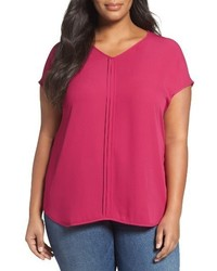 Sejour Plus Size Pleat Front Short Sleeve Top