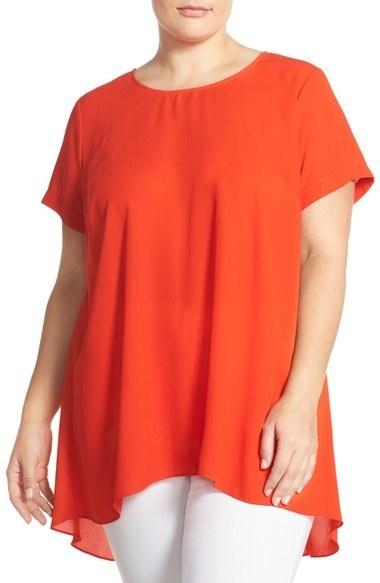 515546766aab6 ... Vince Camuto Plus Size Short Sleeve Highlow Hem Blouse ...