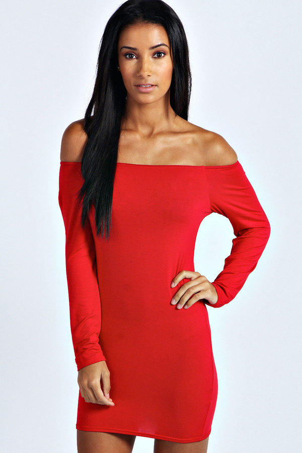 6dd19227eb1b ... Red Bodycon Dresses Boohoo Alice Off The Shoulder Long Sleeve Bodycon  Dress ...