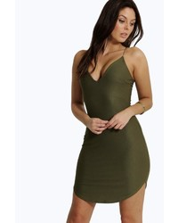 fb93e0028ab1 Boohoo Christel Curved Hem Strappy Bodycon Dress, $26 | BooHoo ...