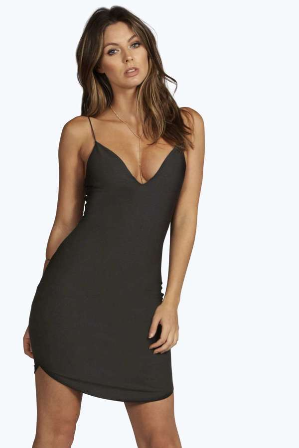 9a8dd8591ba0 Boohoo Christel Curved Hem Strappy Bodycon Dress, $26 | BooHoo |  Lookastic.com