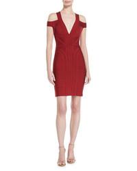 Herve Leger Cold Shoulder V Neck Bandage Dress Ruby