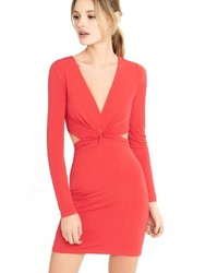 Red Plunging V Neck Back Cut Out Dress
