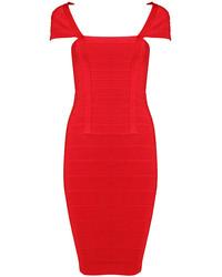 Red Short Sleeve Bodycon Bandage Dress
