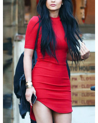 Red Short Sleeve Slim Bodycon Dress