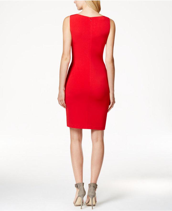 342e7916 Calvin Klein Studded Bodycon Sheath Dress, $119   Macy's   Lookastic.com