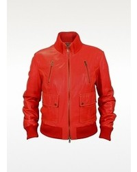 Forzieri Red Leather Bomber Jacket