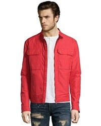 Gucci Red Nylon Four Pocket Zip Front Bomber Jacket