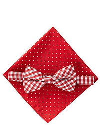 Class Club Gingham And Dotted Bow Tie Pocket Square Set
