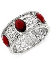 2028 Bracelet Silver Tone Red Stone Filigree Bracelet