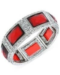 2028 Bracelet Silver Tone Red Stone Stretch Bracelet