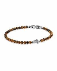 Cross station bead bracelet in tigers eye medium 782712