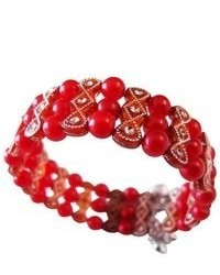 FashionJewelryForEveryone Return Gift For Girls Party Red Pearls Cuff Stretchable Bracelet