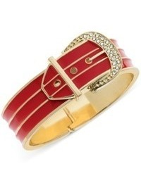 Guess Gold Tone Pave Stone Red Buckle Bangle Bracelet