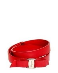 Salvatore Ferragamo Double Wrap Leather Bracelet With Bow