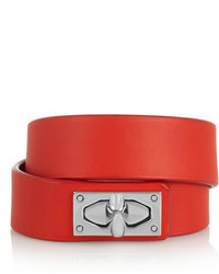Givenchy Shark Lock Bracelet In Leather And Palladium Tone Brass
