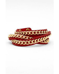 Tasha Leather Wrap Bracelet Red Gold