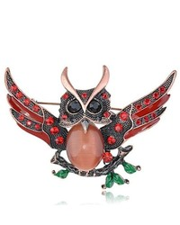 Alilang Ruby Red Crystal Body Rhinestone Grandfather Owl Bird Fly Wing Spread Pin Brooch