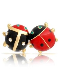 Bling Jewelry Gold Plated Insect Bug Couple Crystal Ladybug Brooch Lapel Pin