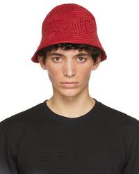 Fendi Red Cotton Bucket Hat