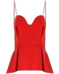 Red crpe bustier top medium 227687
